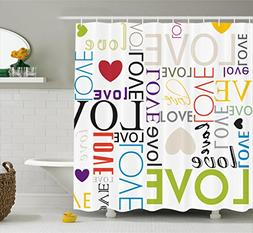 Ambesonne Love Decor Collection, Love Heart Shape Pattern Co