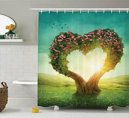 Ambesonne Love Decor Collection, Heart Shaped Tree in the Me