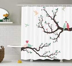 Ambesonne Love Decor Shower Curtain Set, Birds on the Tree S