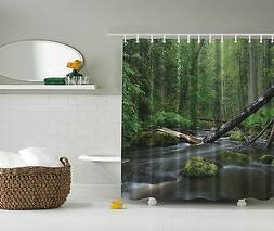 Lush Green Forest River Stream Nature Fabric Shower Curtain