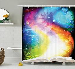 Ambesonne Magic Decor Shower Curtain, Psychedelic Open Book