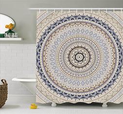 Mandala Decor Shower Curtain by Ambesonne, Retro East Back w