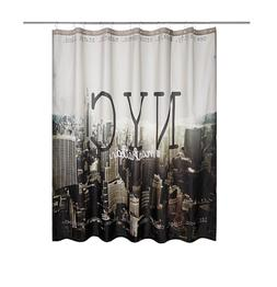 MANHATTAN NEW YORK CITY Fabric Shower Curtain WITH 12 Metal