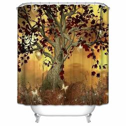 Maple Tree Shower Curtain  Fallen Leaves Bath Curtain Anti-B
