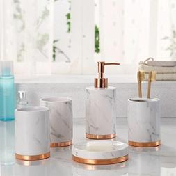 Marble Look with Rose Gold Trim 5 Piece Bathroom Accessory S