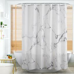 Marble Pattern Fabric Shower Curtain Set 12 Hooks Bathroom B