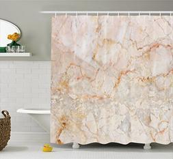 Ambesonne Marble Shower Curtain, Mine Pattern Design Natural