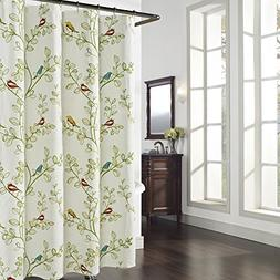 DS BATH Maria Green Leaves Shower Curtain,Flower Polyester F