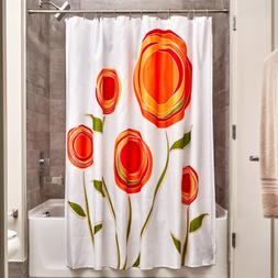 InterDesign Marigold Fabric Shower Curtain, Orange/Red