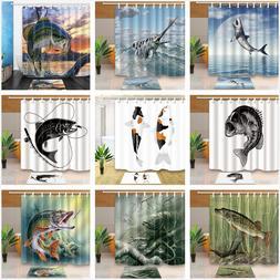 Marine Life Sea Animal Fish Theme Fabric Bathtub Shower Curt