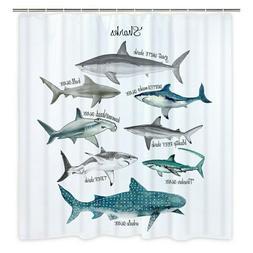 Marine Life Shark Pattern Shower Curtain Polyester Bathroom