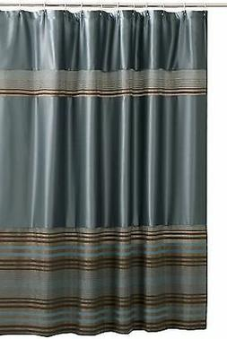 Maytex Mark Chenille Fabric Shower Curtain, Blue