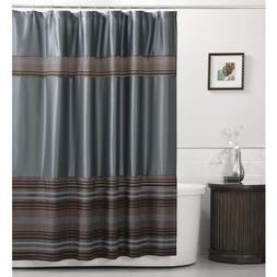 MAYTEX Mark Chenille Striped Fabric Shower Curtain, Blue