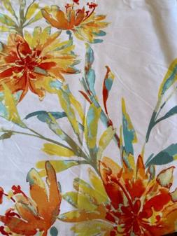 """72x72/"""" Luxury Teal Blue Floral Watercolor Print Cotton Shower Curtain"""