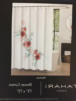 Tahari Home Martina Floral Design Fabric Shower Curtain 72""