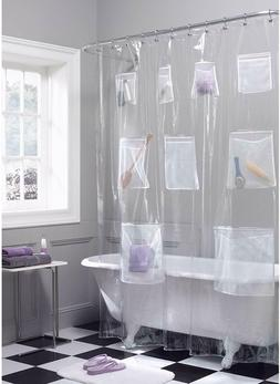 Maytex Quick Dry Mesh Pockets Waterproof PEVA Shower Curtain