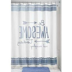 "mDesign Be Awesome Fabric Shower Curtain, 72"" x 72"" - Blue/W"