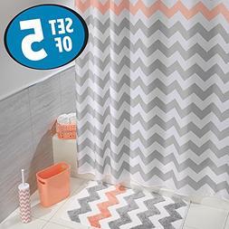 mDesign Chevron Fabric Shower Curtain, Microfiber Accent Rug