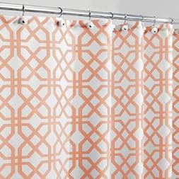 """mDesign Fretwork Fabric Shower Curtain - 72"""" x 72"""", Coral"""