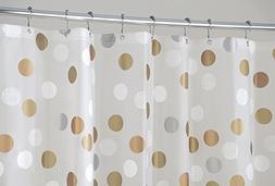 mDesign Metallic Dot PEVA Shower Curtain, Mold and Mildew Re