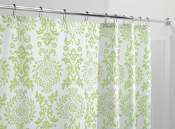 "mDesign Toile Fabric Shower Curtain - 72"" x 72"", Lime Green"