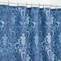 "mDesign Trellis Damask Fabric Shower Curtain -72"" x 72"", Blu"