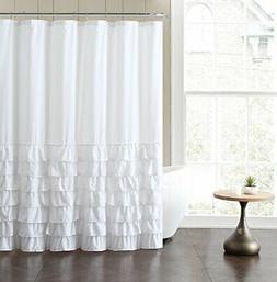 VCNY Home Melanie Ruffle Shower Curtain, 72x72, White