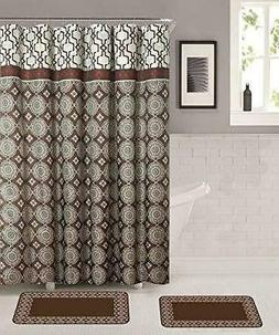 Memory Foam Bathroom Mat Rug Set with Shower Curtain And Rol