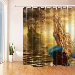 Mermaid and sailing boat Shower Curtain Home Bathroom Fabric