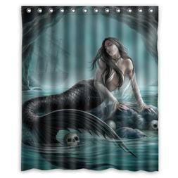 Mermaid Custom Polyester waterproof Bath Shower Curtain Ring
