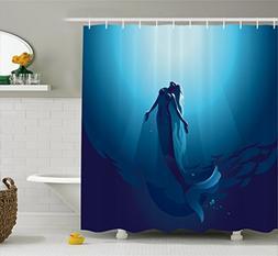 Ambesonne Mermaid Decor Shower Curtain Set, Mermaid in deep