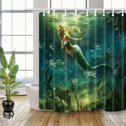 Mermaid Girl Swimming In Ocean Waterproof Fabric Shower Curt