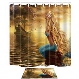 mermaid shower curtain bath rug fairytale girls
