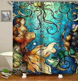 Mermaid Shower Curtain Fairy Tale Girls Fish in Ocean Bathro