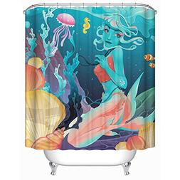 Homeizen Mermaid Shower Curtain Set - 71 X 71 Inches with 12