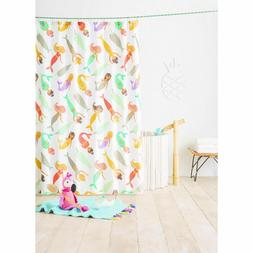 """Mermaid Shower Curtain - White Teal Yellow Coral 72"""" X 72"""" -"""
