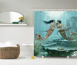 Mermaids in Love Underwater Fairy Design Shower Curtain Extr