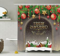 "Ambesonne Merry Christmas Shower Curtain - 70"" Long x 69"" Wi"