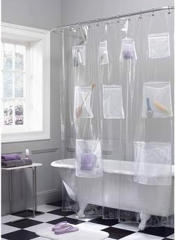 Maytex Mesh Pockets Vinyl Shower Curtain