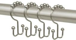 Maytex Metal Double Roller Glide Shower Curtain Ring Hooks,