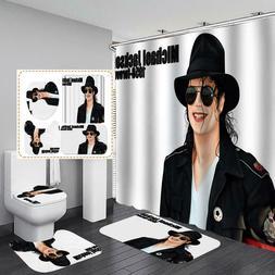 Michael Jackson idol Shower Curtain Bath Mat Toilet Cover Ru
