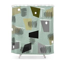 Society6 Mid-Century Modern Green Abstract Shower Curtain 71