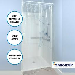 Clear Mildew Resistant Midweight PEVA Shower Stall Curtain L