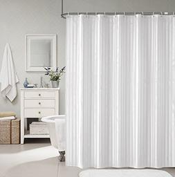 SHU UFANRO Mildew Resistant Shower Curtain Solid Fabric Whit