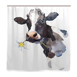ALAZA Milk Cow with A Daisy Flower Shower Curtain Polyester
