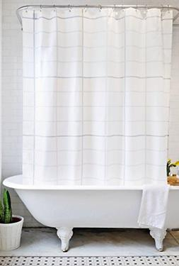 Bathage Modern Grid Pattern Fabric Shower Curtain - Exclusiv