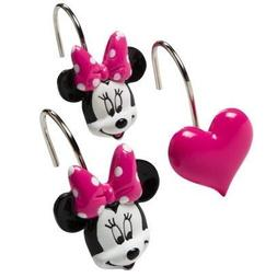 Disney Minnie Mouse and Hearts Bath Shower Curtain Hooks Set
