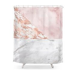 """Society6 Mixed Pinks Rose Gold Marble Shower Curtain 71"""" by"""