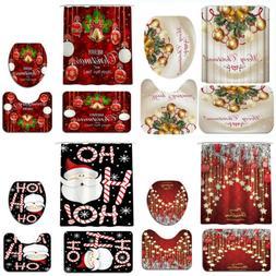 Modern Bathroom Christmas Shower Curtain & 3pcs / 4pcs Mat S