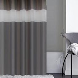 Eforcurtain Modern Charcoal White Stripe Polyester Bathroom
